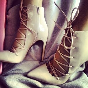 Jeffrey Campbell Blush Lace Pointy Toe Booties